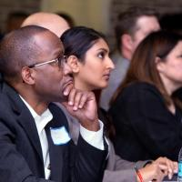 Fall 2016 Showcase judges, Clayton Beale, Sree Vuthaluru, and Karla Viglasky