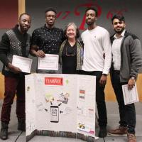 Showcase WInning  Team with Instructor Deborah Close in the middle - Samson Dogbe, Norris Brown,  Devone Bennett, Karnveer Manhani