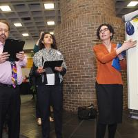 ITI Program Director, Sharon Stoerger leads Showcase judges Nelson Fernandez, Global Project Executive for IBM and Nisha Badshah, Supply Chain Transformation Leader for  Linde Americas through the Showcase winners decision-making process.
