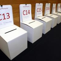 Ballot boxes all in a row... waiting for Student Choice judging to begin