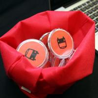 Buttons designed by the RU RealTime team to promote their real time bus app