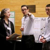 ITI Instructor Deborah Close with students Joseph Moussa and Colin Nilson