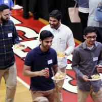Students grab dinner before Capstone Presentation